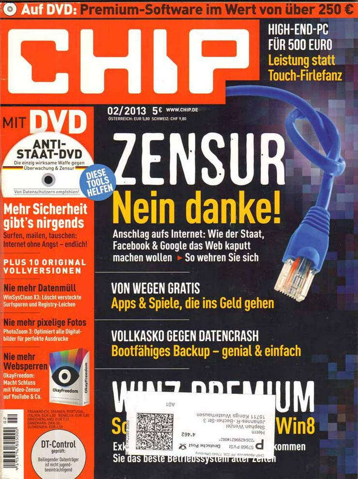 Computerzeitschrift CHIP 02/2013 mit Original-DVD