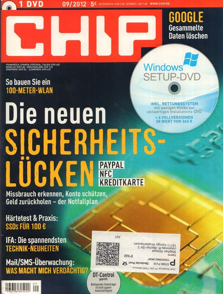 Computerzeitschrift CHIP 09/2012 mit Original-DVD