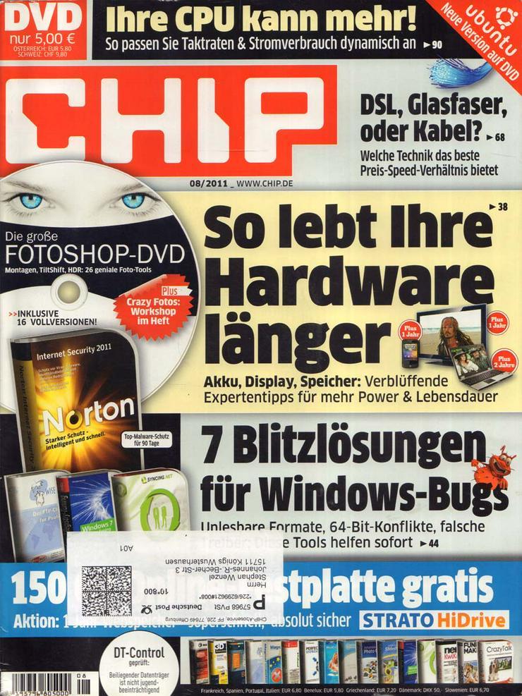 Computerzeitschrift CHIP 08/2011 mit Original-DVD