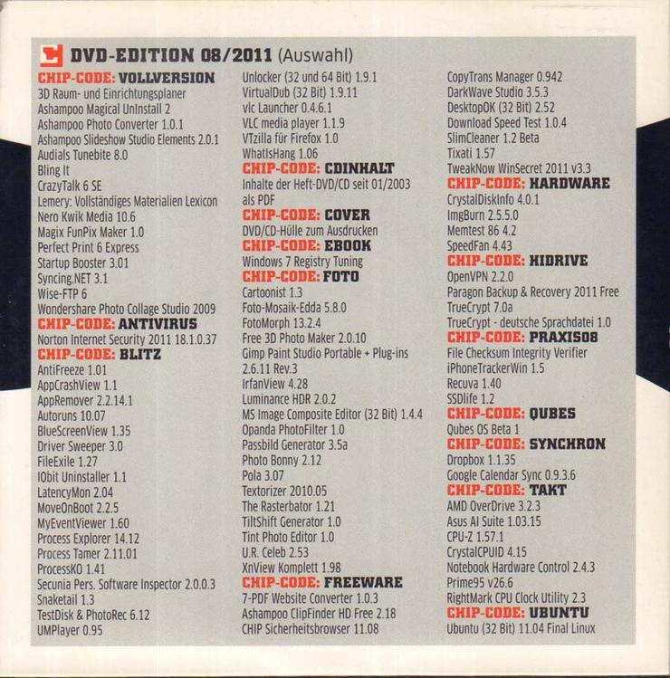 Bild 3: Computerzeitschrift CHIP 08/2011 mit Original-DVD