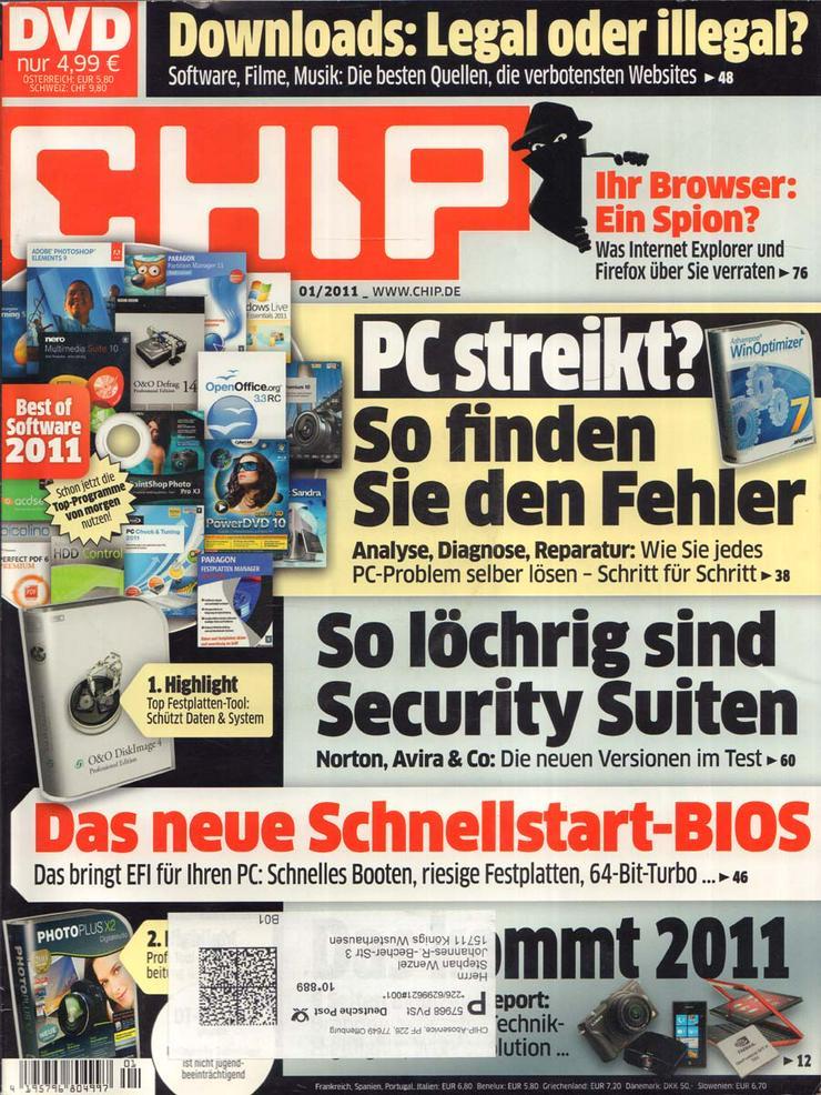 Computerzeitschrift CHIP 01/2011 mit Original-DVD