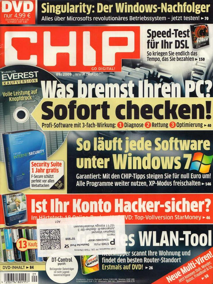 Computerzeitschrift CHIP 09/2009 mit Original-DVD