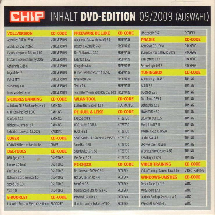 Bild 3: Computerzeitschrift CHIP 09/2009 mit Original-DVD