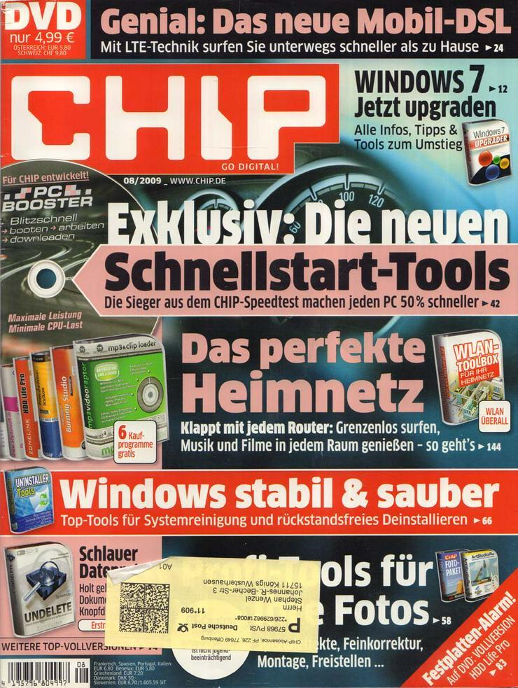 Computerzeitschrift CHIP 08/2009 mit Original-DVD