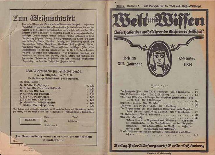Welt und Wissen - Heft 19 - XIII. Jahrgang - Dezember 1924