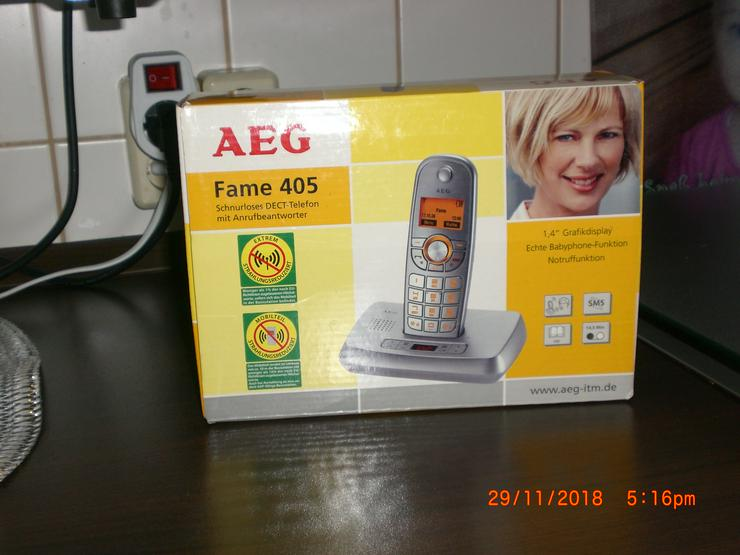 Schnurlos Telefon AEG Fame 405  mit Netzteil, Kabel und Anrufbeantworter