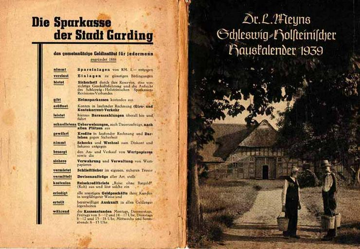 Schleswig-Holsteinischer Hauskalender 1939 - herausgegeben von Dr. L. Meyns