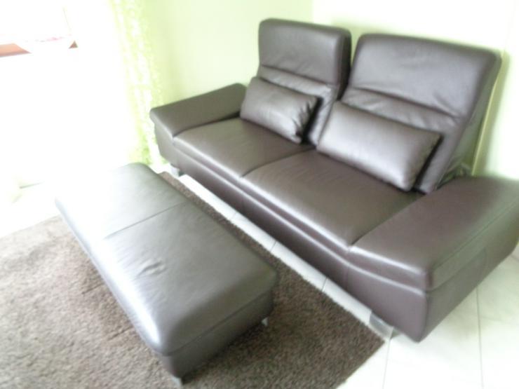 Neuwertig Echt-Leder Designer Sofa Couch 3Sitzer Relax-Funktion freistehend Hocker Dunkel Braun