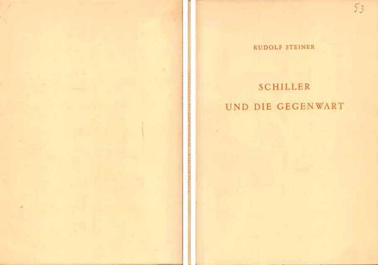 Rudolf Steiner - Schiller und die Gegenwart - 1955
