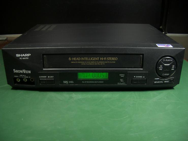 Sharp VC-M781 HiHi  VHS 6 Kopf HI-FI-Stereo Videorecorder mit 2X Scart, Front AV, Longplay, Show View, VPS