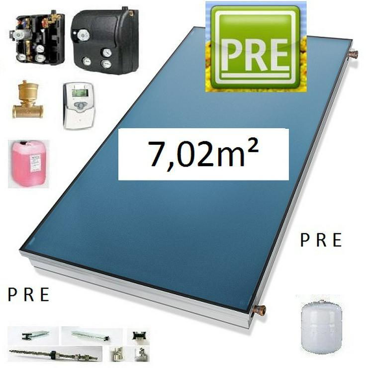 1A PRE Flachkollektor Solaranlage 7,02m² für Warmwasser Speicher