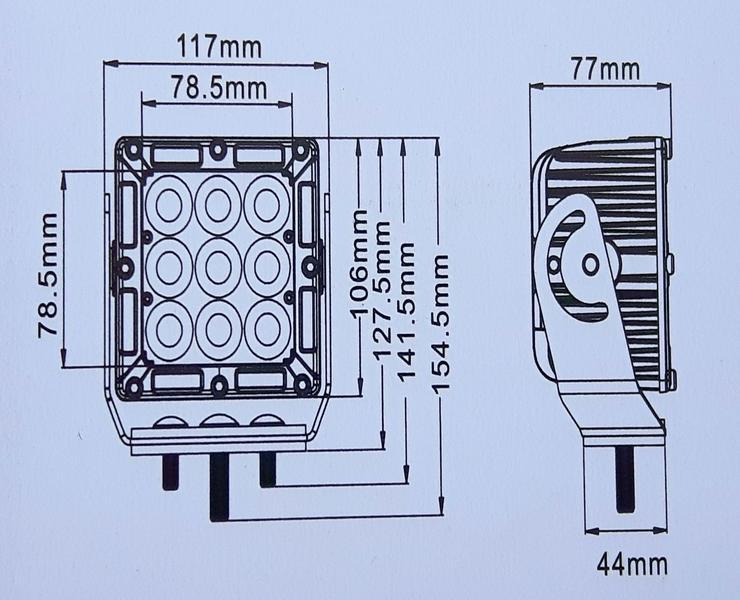 "Bild 2: CREE  LED,  45 Watt Arbeitsscheinwerfer  "" ACRI-XI "",  YELLOY Edition, incl. Kabelbaum, Trecker, Bagger, Lkw,"