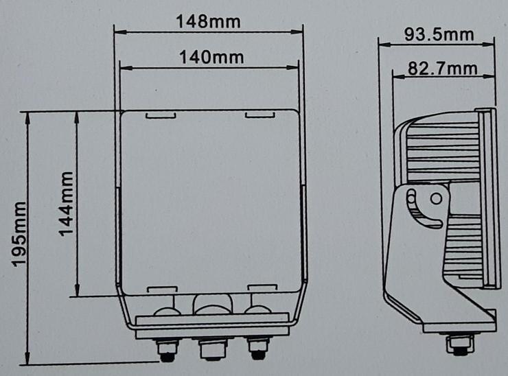 """Bild 2: CREE LED, 80 Watt Arbeitsscheinwerfer """" ACRI-XI """", incl. Kabelbaum, Trecker, Bagger, Lkw,"""