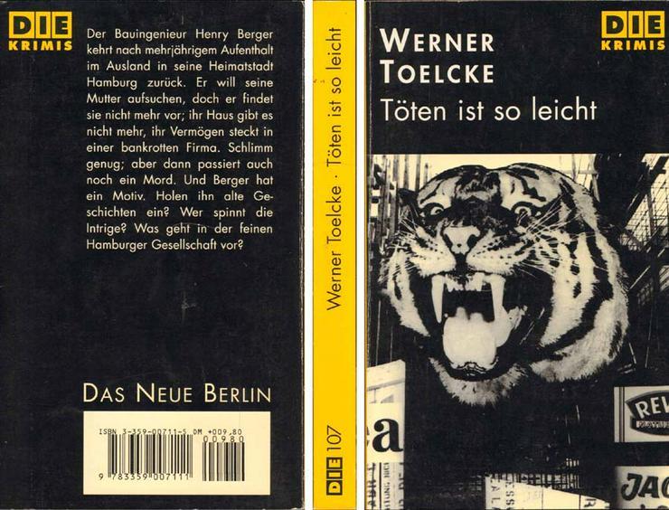 Taschenbuch - Töten ist so leicht - von Werner Toelcke - D I E-Reihe - 1995