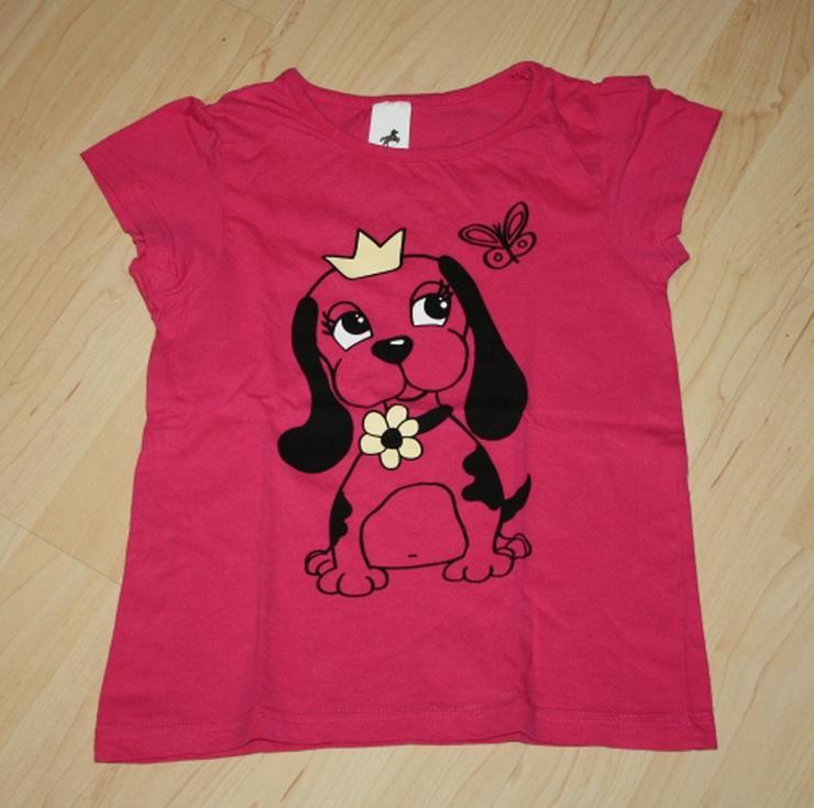 Mädchen Kurzarm T-Shirt Hund Kinder Kurzarmshirt pink Gr. 122