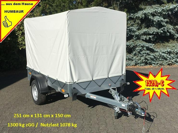 1300 kg Anhänger Alu-Aufbau 251 x 131 x 30 cm inkl. Hochplane
