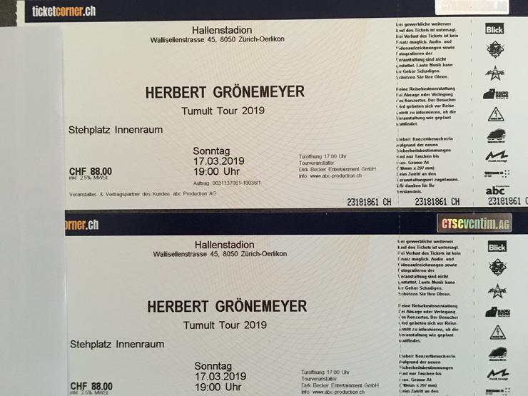 2 Herbert Grönemeyer Stehplätze, 17.03.2019 Zürich