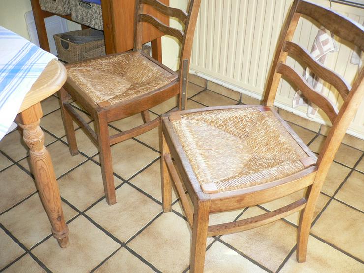 4 Stühle, Eiche, Sitzfläche Binsen