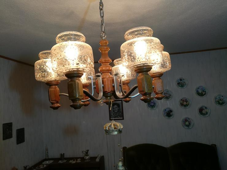Deckenlampe Wohnzimmer Eiche rustikal Glas Messingeinschlüsse