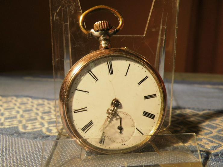 Bild 6: Schöne, antike Taschenuhr aus Silber von Halbmond und Stern um 1900 / Bastler