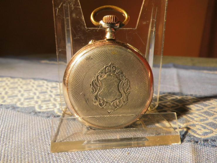 Bild 8: Schöne, antike Taschenuhr aus Silber von Halbmond und Stern um 1900 / Bastler