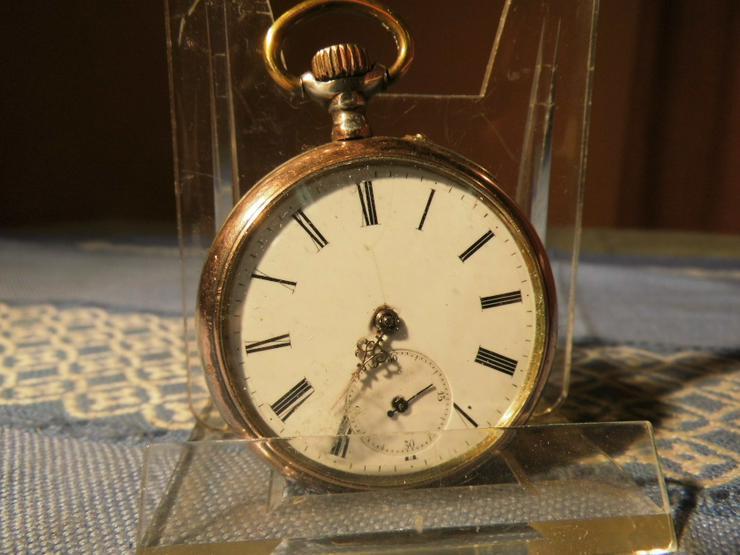 Bild 7: Schöne, antike Taschenuhr aus Silber von Halbmond und Stern um 1900 / Bastler