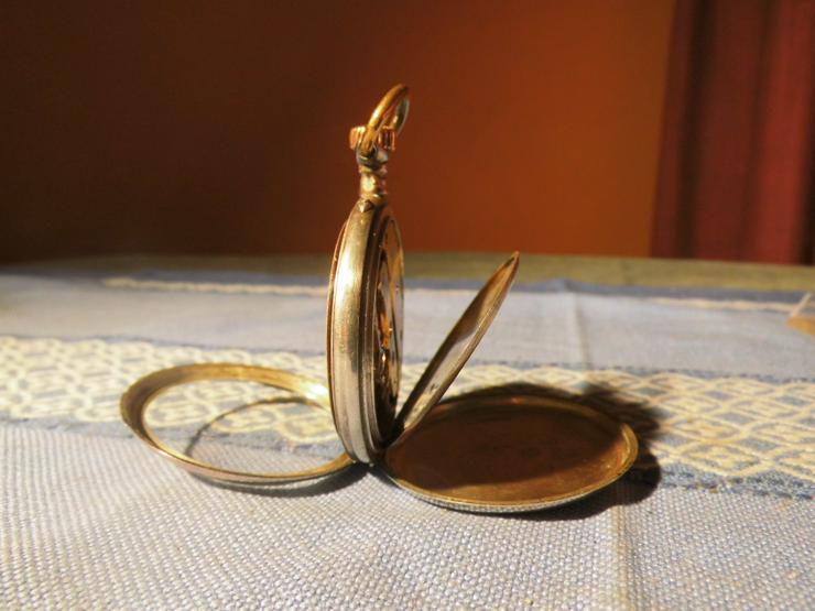 Bild 2: Schöne, antike Taschenuhr aus Silber von Halbmond und Stern um 1900 / Bastler