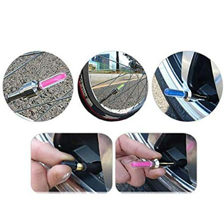 Bild 4: Ventilkappenlicht, mit Adappter für Fahrrad, passend für Auto und Motorrad