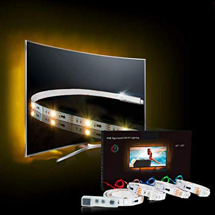 Bild 2: LED TV Hintergrundbeleuchtungstreifen, 1 Meter, weiß, mit USB Anschluss