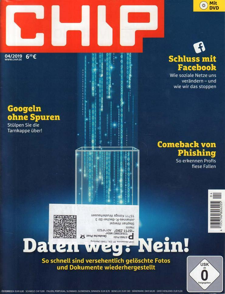 Computerzeitschrift CHIP 04/2019 mit Original-DVD