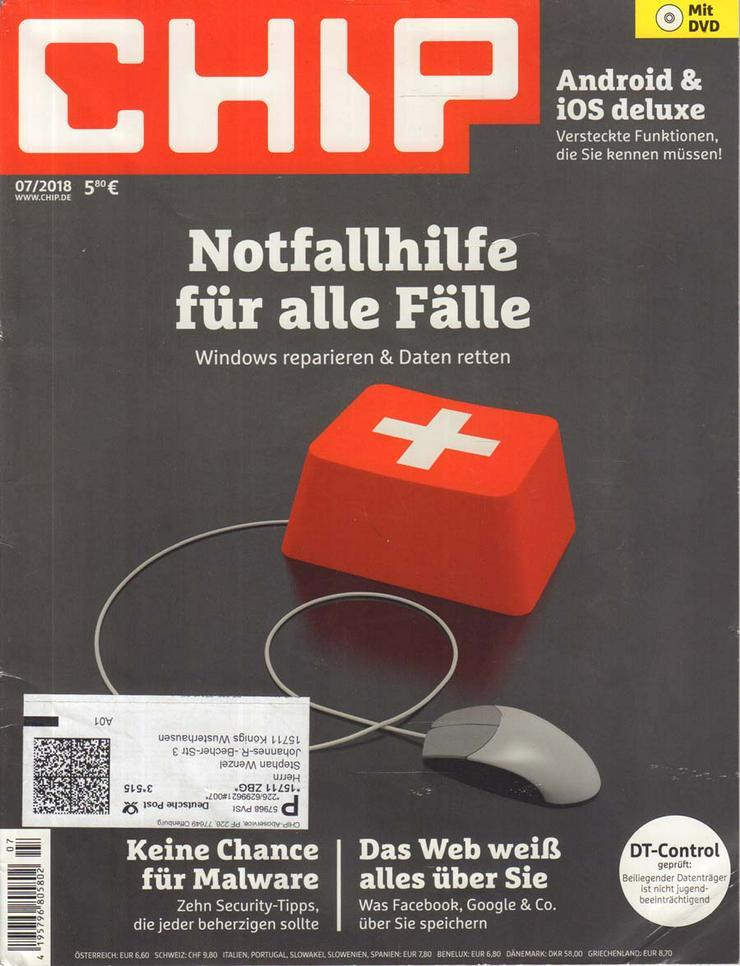 Computerzeitschrift CHIP 07/2018 mit Original-DVD