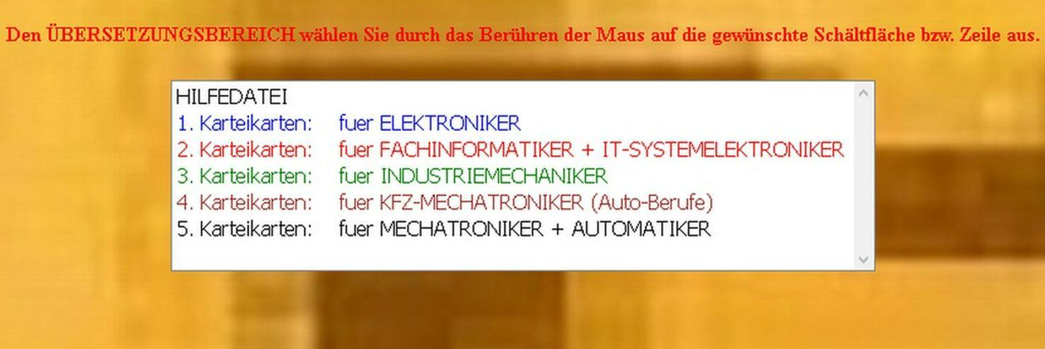 deutsch-englisch Karteikarten: Auto-Berufe/ Elektroberufe/ Metallberufe