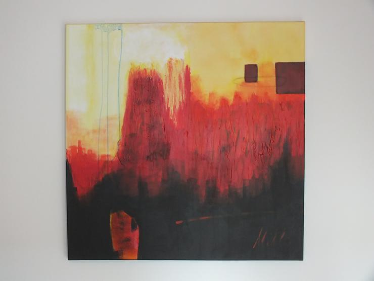 Originale Malerei auf Leinwand – Vulkan 100 x 100 x 4cm