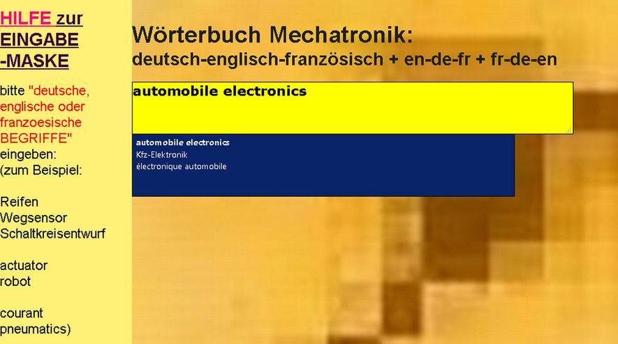 Kfz-Mechatronik-Uebersetzer: franzoesische + englische Technische Fachwoerter-Verbindungen