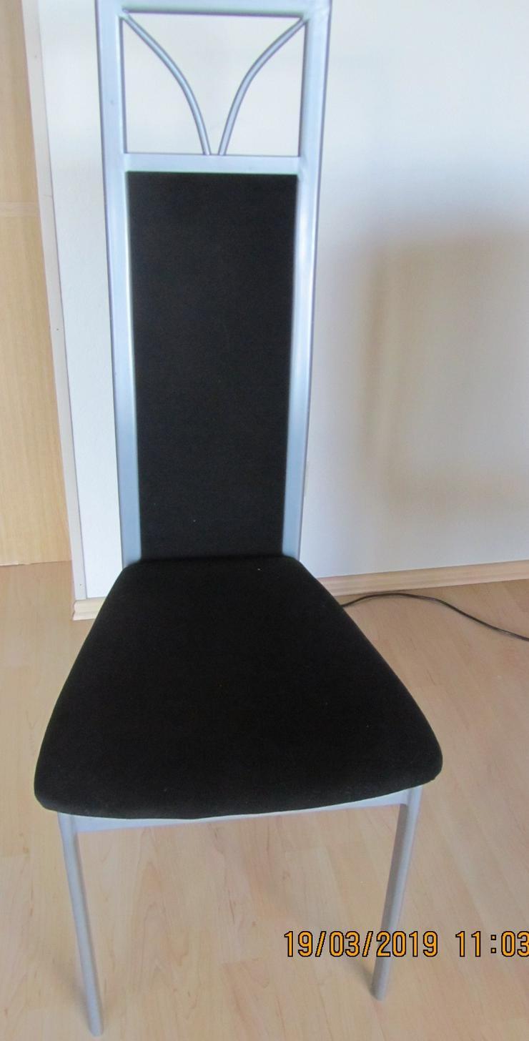 Stühle aus Metall, silber, Bezug Velours Polyester, schwarz