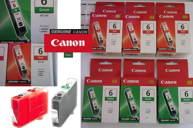 6 x Original CANON Drucker-Tinte - 3 x ROT + 3 x GRÜN
