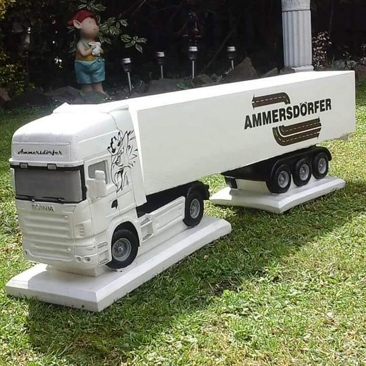 Bild 4: Modell LKW aus Beton / Stein Actros DAF Scania 1:16 - handbemalt