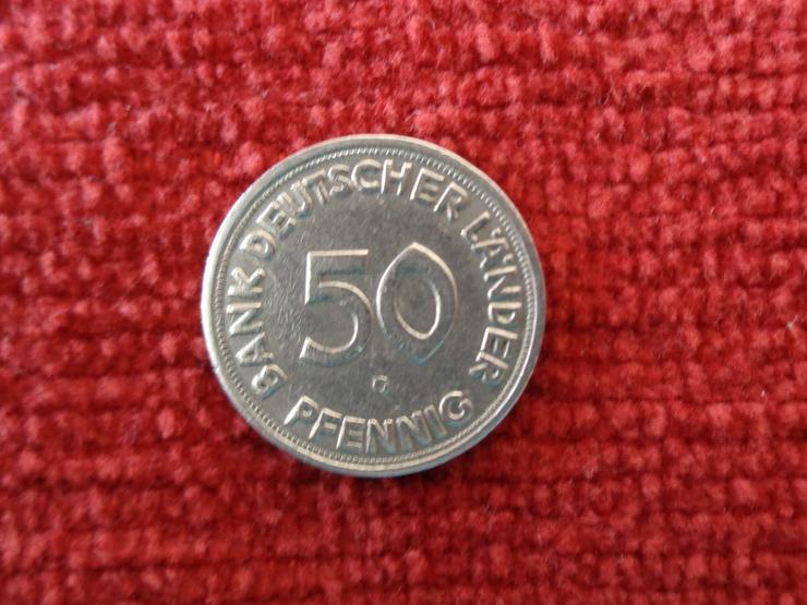 """Bild 3: ORIGINAL-Fehlprägung 50 Pfennig """"BDL"""" 1950 G"""