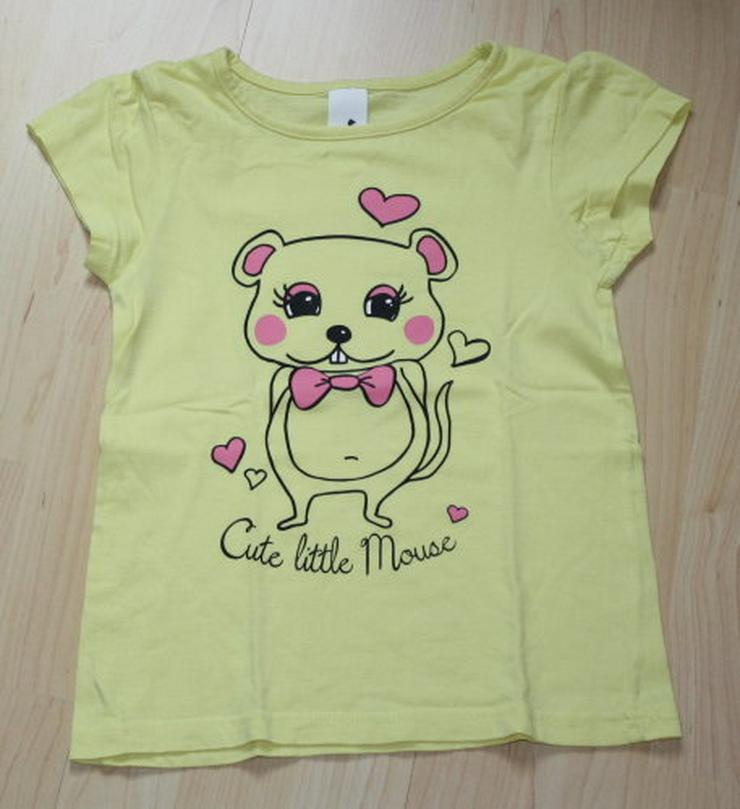 Mädchen Kurzarm T-Shirt Maus Herzen Kinder Kurzarmshirt gelb 122