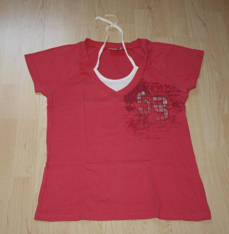 Damen Neckholder Kurzarm T-Shirt Lagenlook 2in1 Top pink Gr. 44 L