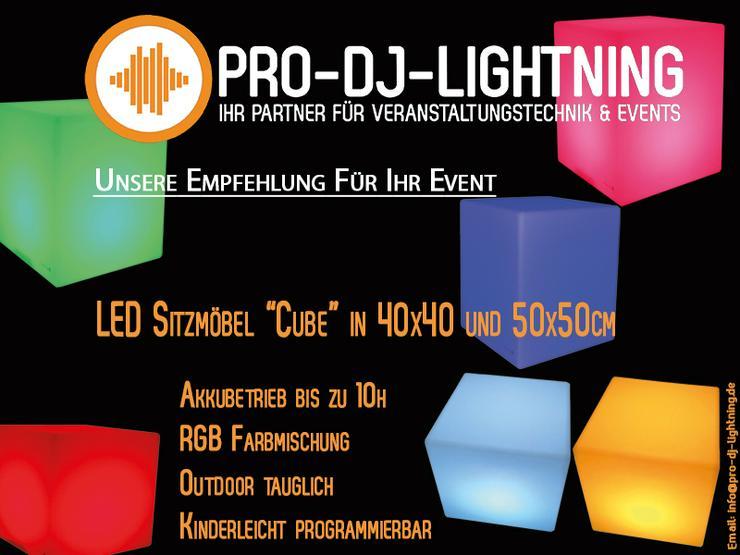 """LED Sitzmöbel """"Cube"""" in 40x40 und 50x50cm Deko Lounge Möbel ausleihen - Party, Events & Messen - Bild 1"""