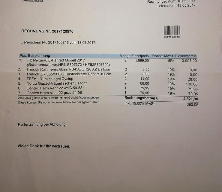 F2 Nexus-8 E-Faltrad, quasi ungenutzt, Garantie bis 17.05.19