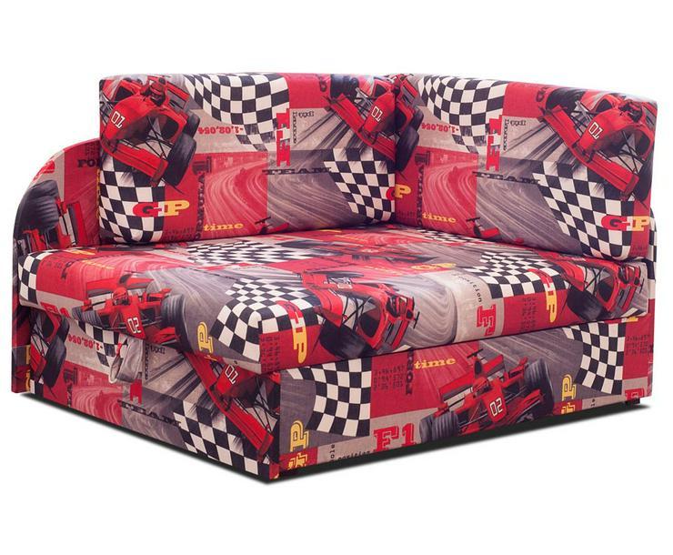 Schlafsofa mit Kissen Bettkasten Jugendcouch Rot Kindersofa Autos bis 163 cm