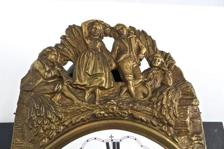 Bild 4: Kleine antike org. Französische Wanduhr (Comtoise)