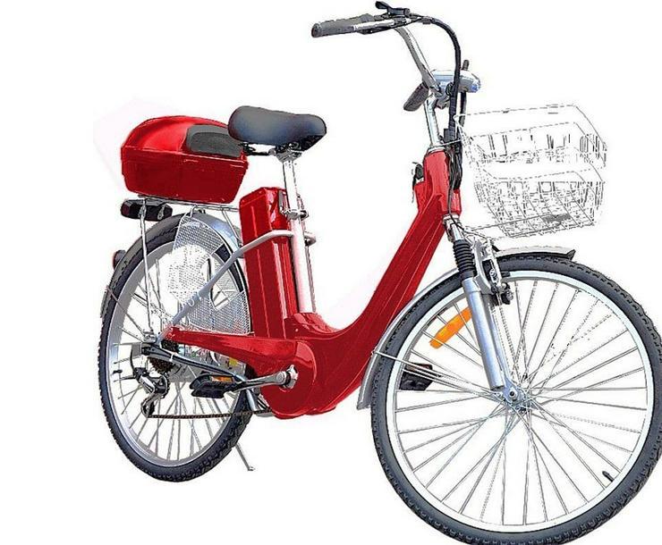 """Elektrofahrrad Fahrrad Rot Elektro Motor Alu Pedelec 26"""" Akku 25W"""
