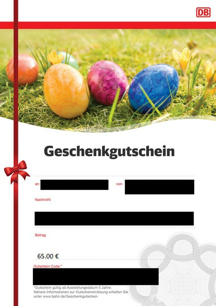Deutsche Bahn Gutschein 65€