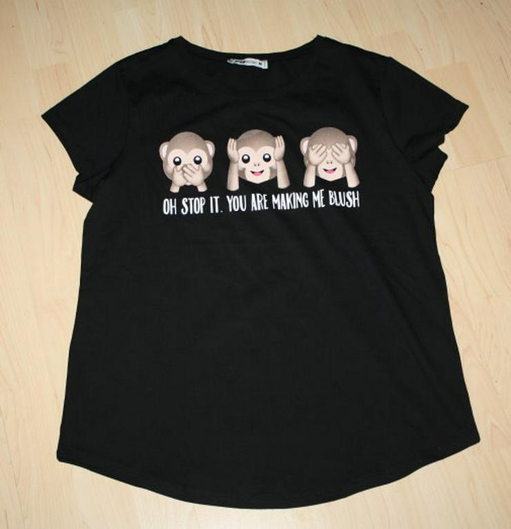 Damen Kurzarm T-Shirt Drei Affen Kurzarmshirt schwarz M 40/42 NEU