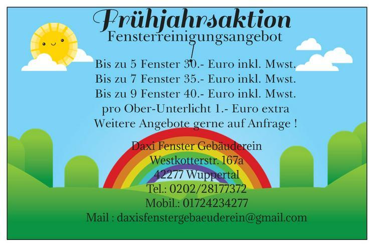 """Frühjahrsaktion """"Fenster und Rahmenreinigung"""""""