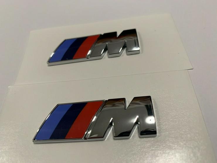 Bild 5: 2 Stück BMW M Emblem Logo 45x15mm Kotflügel Selbstkleben 3D klebe Chrom Silber