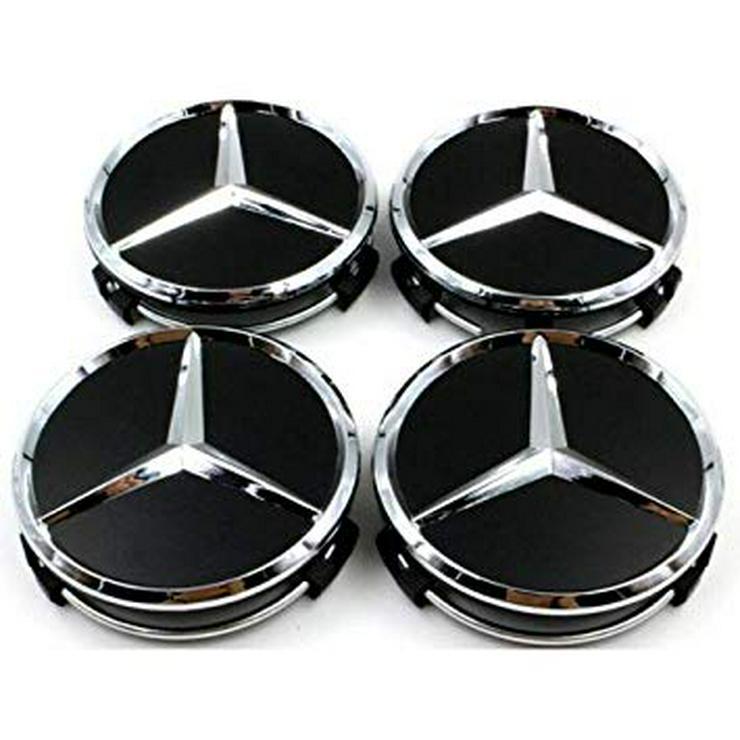 Schwarz Glanz  4 Stück Mercedes-Benz Nabendeckel Nabenkappe A1714000025